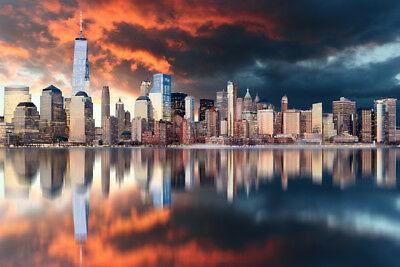 Freedom Tower New York City Manhattan At Sunset Photo Art Print Poster 18x12