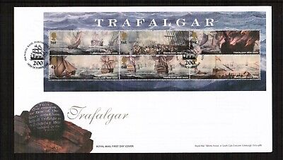 GB 2005 Battle of Trafalgar Min Sheet FDC with pictorial postmark