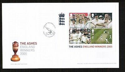 GB 2005 The Ashes England Winners Min Sheet FDC with pictorial postmark