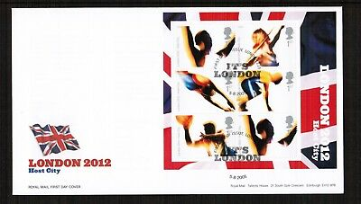 GB 2005 London 2012 Olympics Min Sheet FDC with pictorial postmark