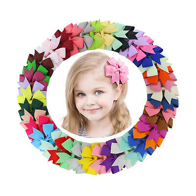 40Pack Boutique Grosgrain Ribbon Pinwheel Hair Bows Alligator Clip For Baby Girl
