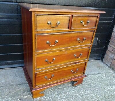 Antique Solid Mahogany 2 over 3 Chest of Drawers