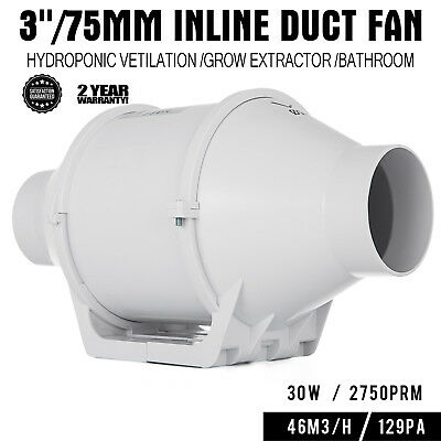3in Inline Duct Fan Hydroponic Ventilation Blower Extractor mixed flow 29/25 W