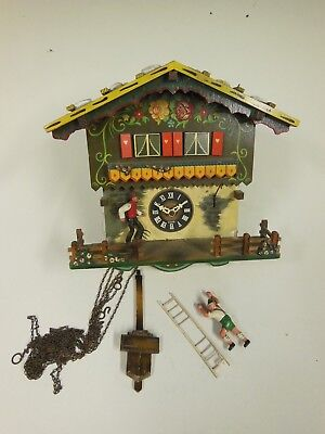 Vintage Musical Cuckoo Clock with Moving Figures (for restoration or parts only)