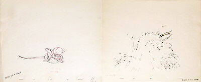 1941 Disney Dumbo Timothy Mouse & Water Effects Production Animation Drawing Cel
