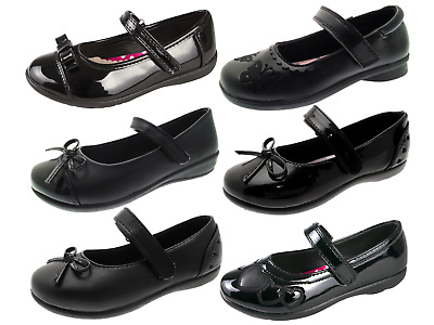 077b53e8872b Chatterbox Girls Black School Shoes Faux Leather Mary Jane Flower Kids Size