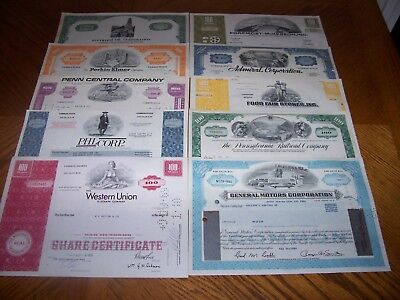 Lot of 10 Different Stock Certificates Nice Vignettes TL5