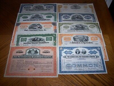 Lot of 10 Different Stock Certificates Nice Vignettes TL10