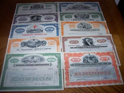 Lot of 10 Different Stock Certificates Nice Vignettes TL3