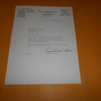 Compton I White Sr. was a U.S. rep Hand Signed 8 x 10.5 Congress Letter 1937