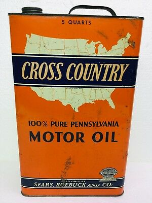 Vintage Oil Can Sears, Roebuck & Co. Cross Country 5 Quarts Empty SAE 50, Nice