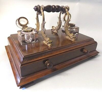 Antique Walnut Desk Stand. Ink Stand. Desk Top Item. Brass Dolphin Supports.
