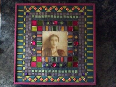 Frida Kahlo iconic Photograph in beautiful handmade mosaic frame.