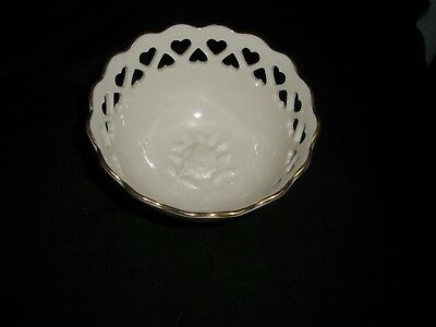 Lenox  Pierced Hearts Candy Dish 24K Gold Trim W/ Embossed Rose