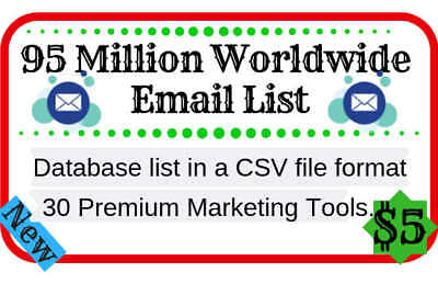 * 90 million worldwide email list with marketing tools