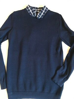 Boys Navy Jumper & Faux Check Shirt 12-13 Years IMMAC condition Next Day Post