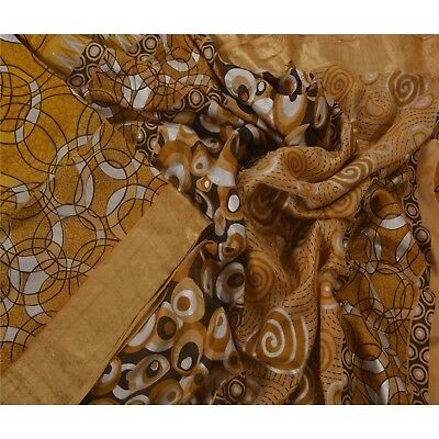 Sanskriti Vintage Yellow Saree 100% Pure Silk Printed Golden Border Fabric Sari