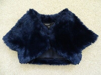 Girl's Navy Blue Faux Fur Shrug/Bolero from Marks and Spencer Age 4-5 Years