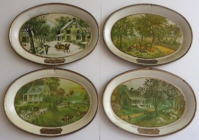 American Homestead Mini Tin Oval Trays 4 Seasons by Currier & Ives