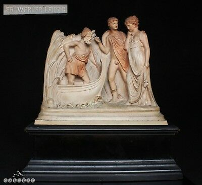 19th C. Terracotta Roman Figure Group - Alfred Werner Wien Vienna + Wood Stand