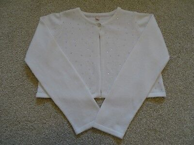 Girl's Ivory Diamante Cardigan from Marks and Spencer Age 4-5 Years