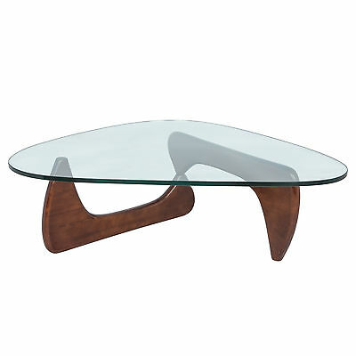 LeisureMod Imperial Mid-Century Triangle Coffee Table With Wooden Base