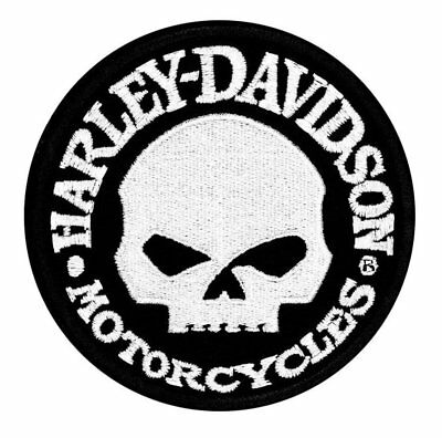 Harley-Davidson Hubcap Skull Small Patch, 4'' W x 4'' Iron On/Sew On