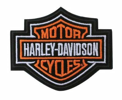 "Harley Davidson Classic Orange Logo Iron On/Sew-on Patch (3.5x2.75"")"
