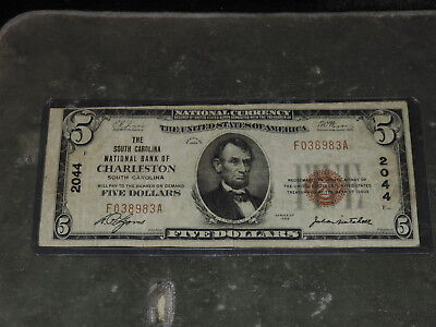 1929 United States 5-Dollar National Currency Note - Charleston, SC