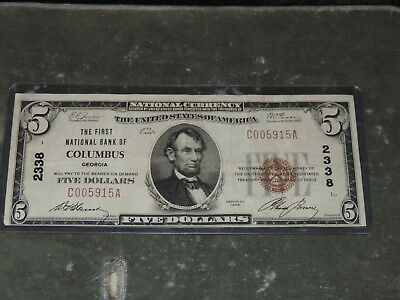 1929 United States 5-Dollar National Currency - 1st National Bank of Columbus GA