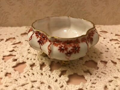 Antique Victorian Hand Painted Footed Fine China Open Salt Gold Trim Red Floral