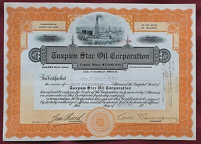 "Tuxpam Star Oil Corporation   ""  100 Azioni Da  1 Dollaro""    1917"