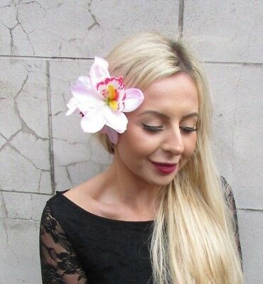 Large Triple Blush Light Pink Orchid Flower Hair Clip Fascinator 1950s Lily 6818