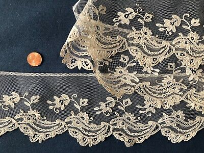 Handmade Brussels bobbin lace applique on machine net COSTUME SEW