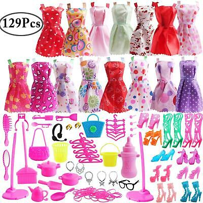 129 Pcs Barbie Doll Clothes Accessories Huge Lot Party Gown Outfits Girl Gift