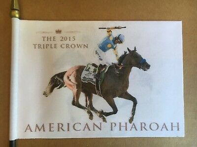 "AMERICAN PHAROAH  * Triple Crown Winner * Horse Racing  Mini Desk Flag 4"" x 6"""
