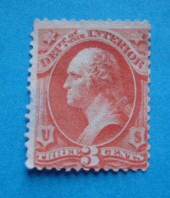 Washington 3 Cents - Dept of Interior - SC#O17 / O3 Used US Stamp Issued 1873