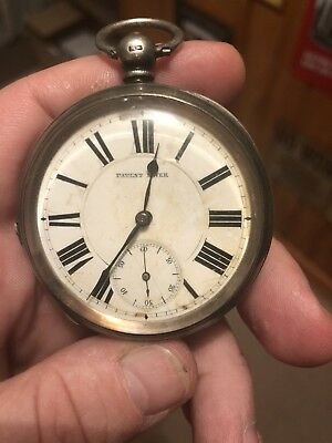 Antique Solid Silver Top Wind Open Face Fob Pocket Watch Art Deco