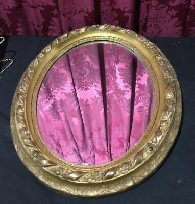 Vintage Antique Oval Gold Gilt Floral Decorated Oval Mirror