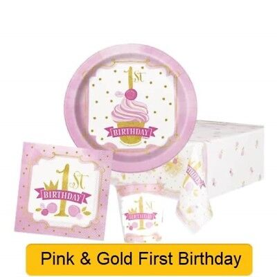 PINK & GOLD 1st First BIRTHDAY Girl Party Range - Tableware Supplies Decorations