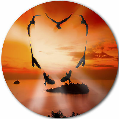 Design Art 'Crow Heart at Sunset' Photographic Print on Metal