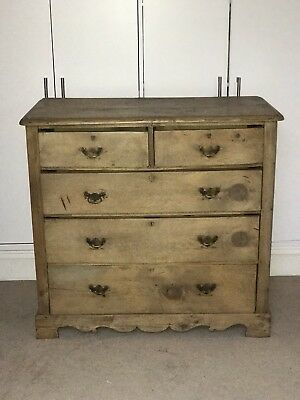 large antique victorian style pine chest of drawers, used