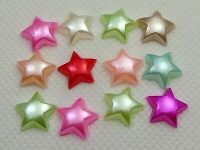 200 Mixed Color Acrylic Half Pearl Star Flatback Beads 10mm Bow Center Cabachons