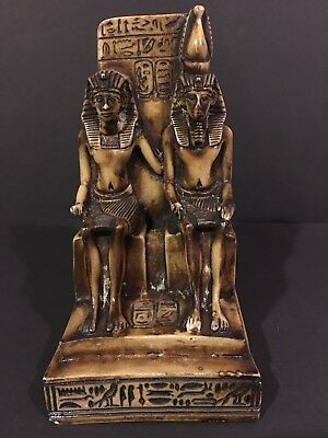 Vintage Egyptian Pharaoh Royalty King & Queen on Throne Hieroglyphics Bookend