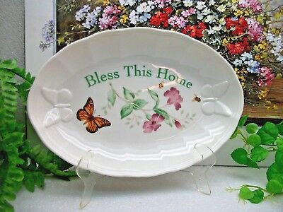 """Lenox China Butterfly Meadow  BLESS THIS HOME  11""""  Oval Serving Tray"""