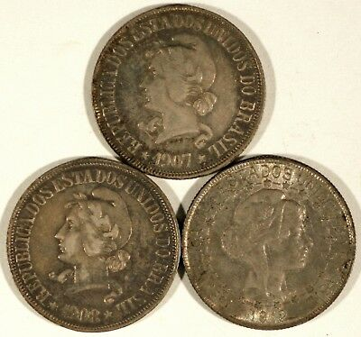 1907, 1908, and 1912 Brazil 500 Reis Coins (3)