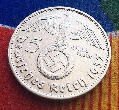 German 1937 D 5 Mark WW2  Silver Coin  Third Reich Reichsmark