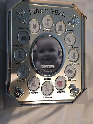 Malden Baby's First Year Silver Picture Frame with 13 photo openings