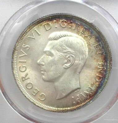 Canada 1937 Silver Dollar  Pcgs Ms64 Rainbow Toning! Scarce This Nice!