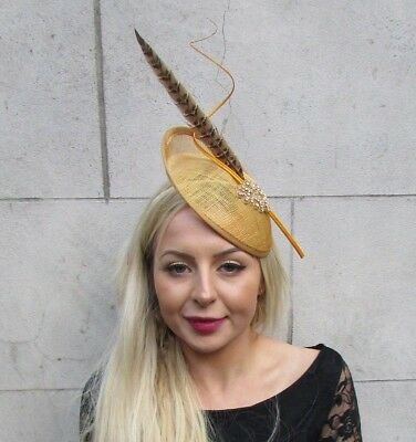 Gold Brown Pheasant Feather Disc Saucer Hat Fascinator Hair Races Ascot Vtg 6823